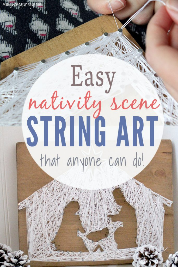DIY string art nativity scene on wood