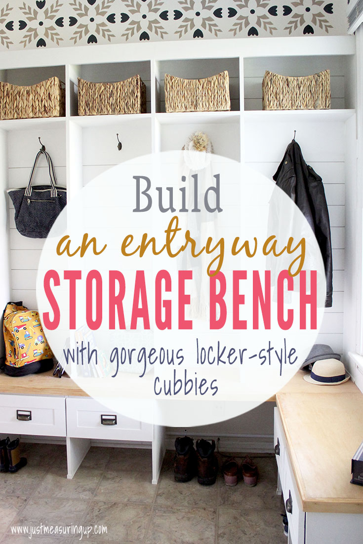 Build your own DIY entryway storage bench with locker-style cubbies