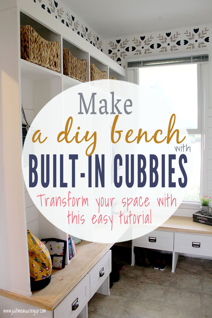 Entryway bench with storage drawers, hooks, and cubbies