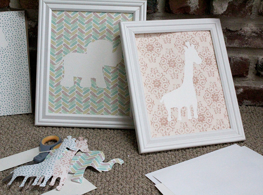 Beautiful diy nursery wall art of a baby elephant and baby giraffe