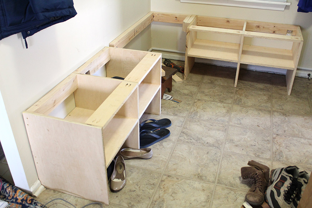 Mid construction on the entryway storage bench with cubbies - lower cubbies and bench