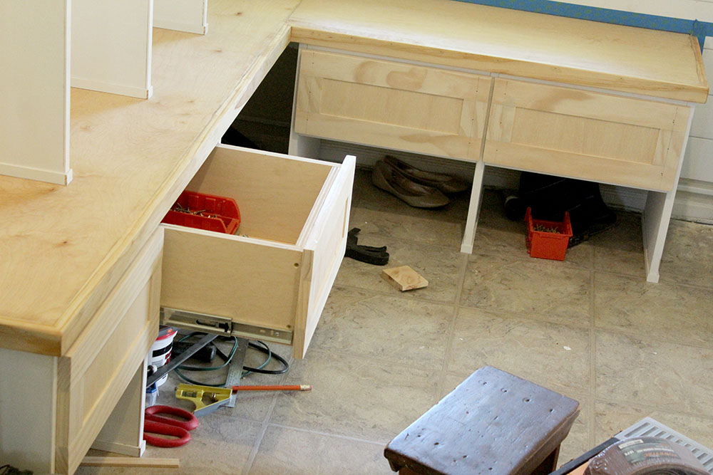 Building Diy Mudroom Storage Drawers On The Entryway Bench