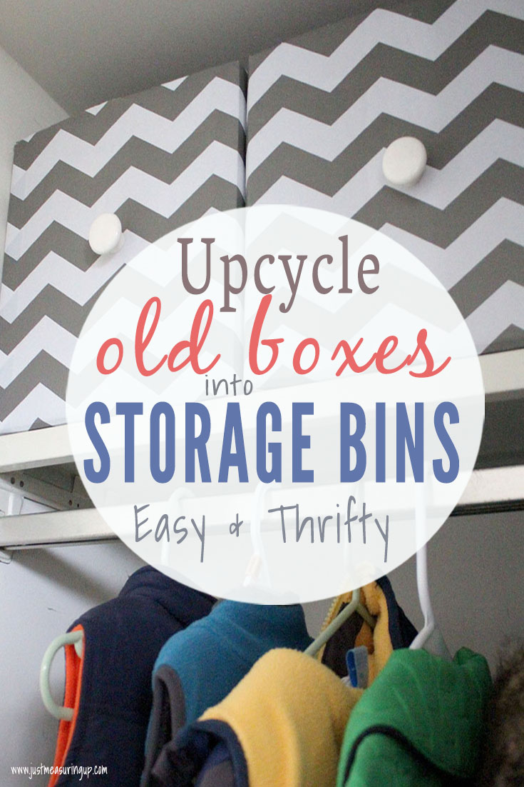 Upcycling old cardboard boxes into storage boxes with gray and white contact paper