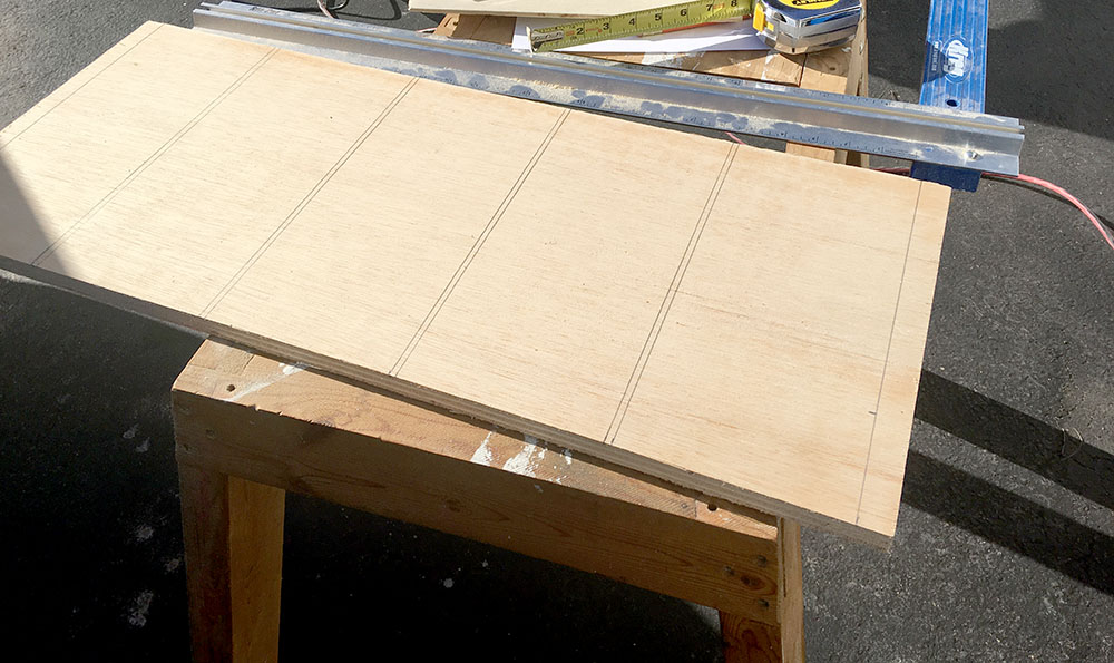 Prepping the plywood to build DIY swing out wall shelves
