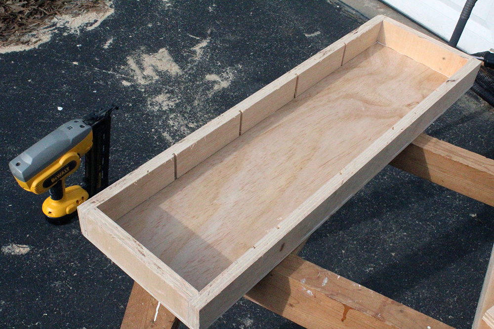 Joining four pieces to make a frame for the DIY wall swinging wall shelves