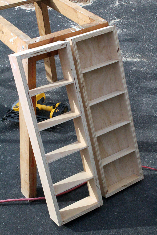 Making DIY swing out wall shelves with scrap wood