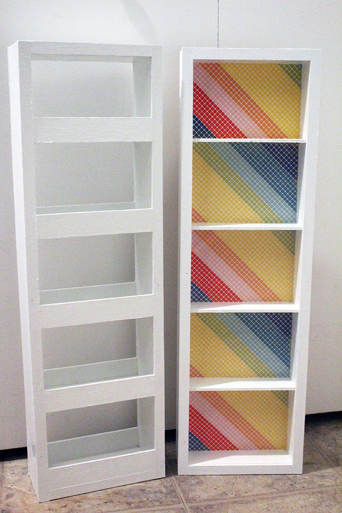 DIY swing out storage shelf cabinet with colorful background