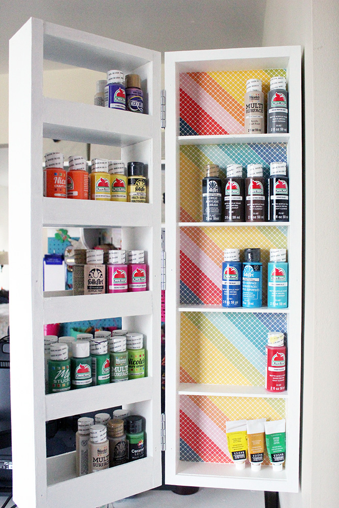DIY swing out wall storage cabinet with open shelving - perfect for craft room organization