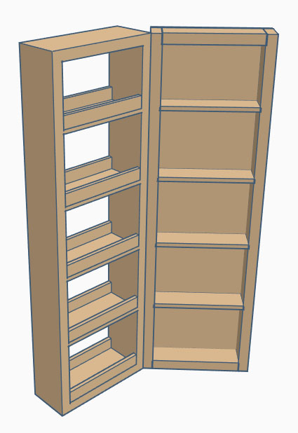 Wall storage with swing out shelves