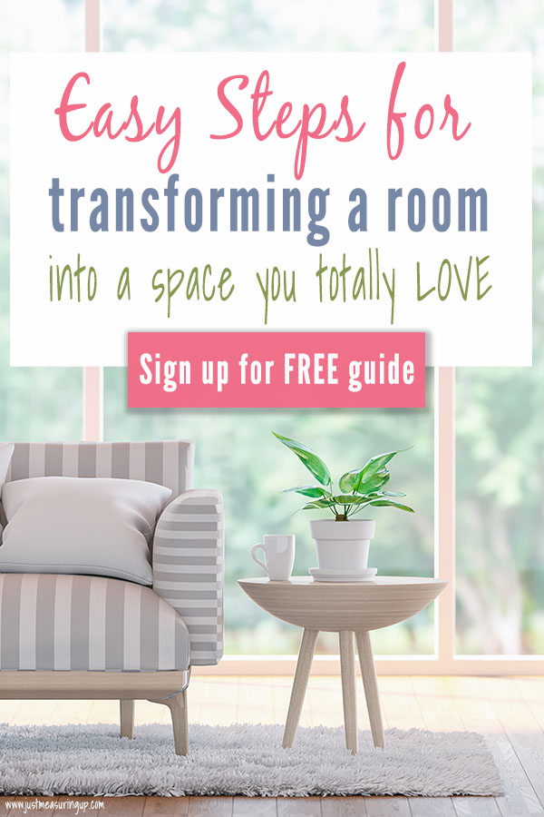 Frustrated with a room in your home? Tired of a boring or dysfunctional space in your home? With this free 5 Step Guide, you'll learn how to transform an area into a space you absolutely adore. Use the skills you have and these steps to do a complete DIY room makeover. #diy #roommakeover