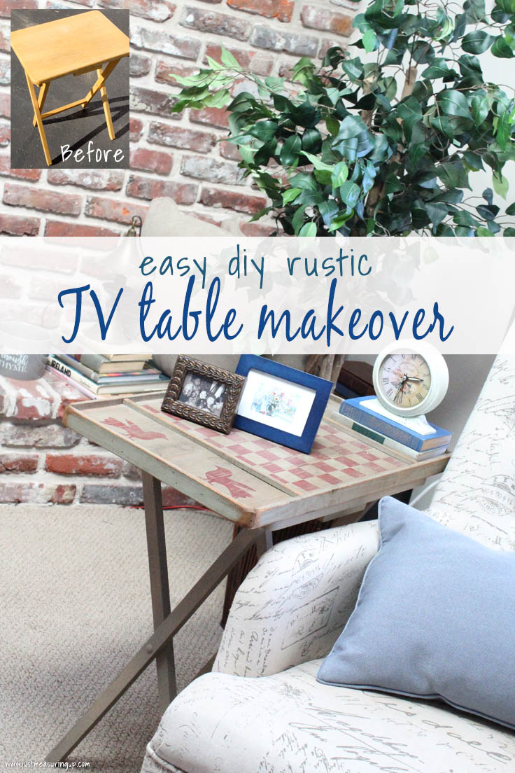 Upcycled checkerboard game and repurposed TV tray table into a beautiful rustic end table