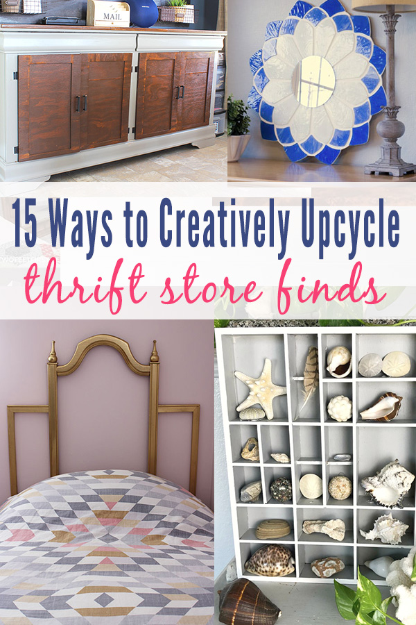 Upcycled thrift store makeovers - old dresser, glass light, pictures frames, and old shelf