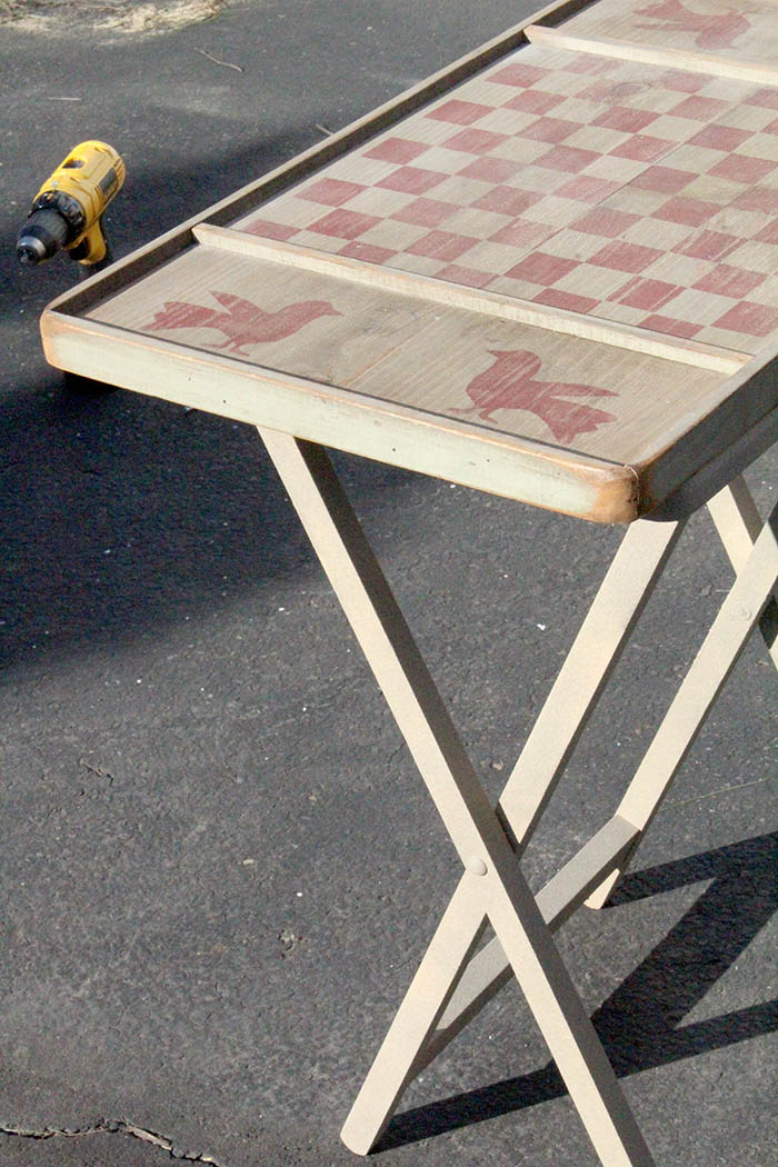 Checkerboard end table DIY project from an old folding TV tray table