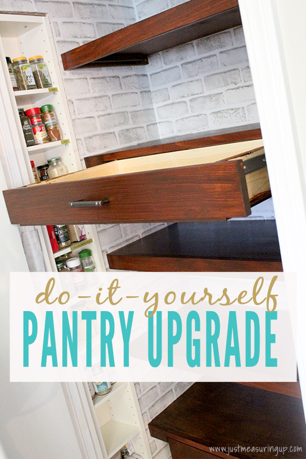 floating pantry shelves with pull out drawers in a small pantry DIY refresh