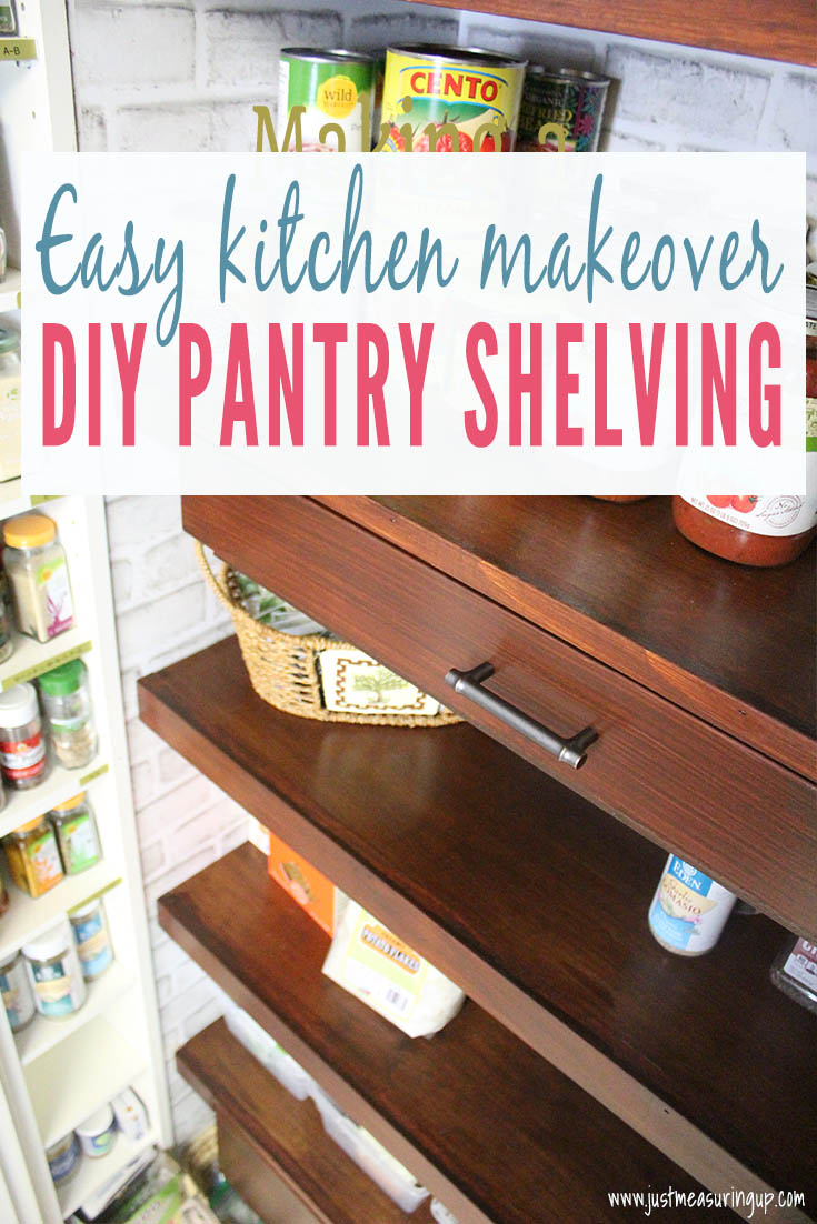 DIY walnut wood floating shelves in pantry closet