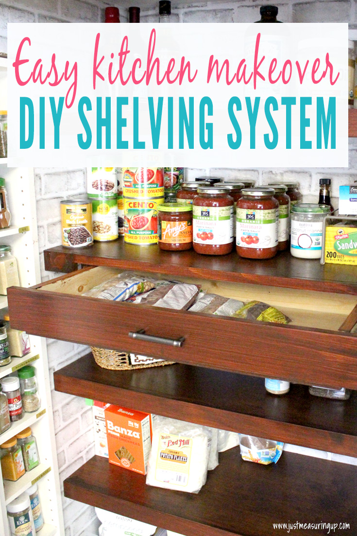 DIY built in pantry shelves and pull out drawers in a small reach-in pantry