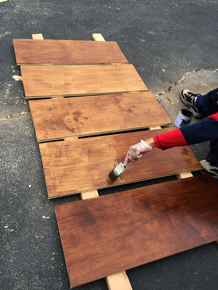 Staining wooden shelves for the pantry shelving system with natural, zero voc wood stain