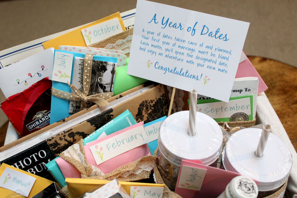 DIY Year of Dates Wedding or Couple Gift Basket