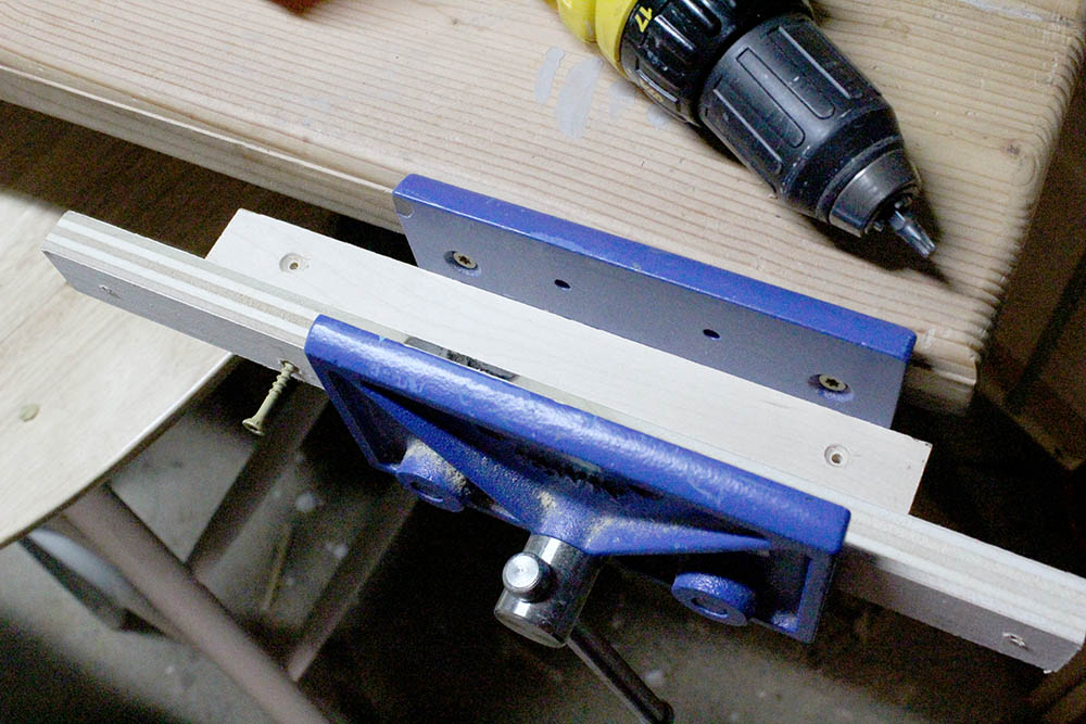 Making DIY wooden shelf supports for floating pantry shelves with the drill and wood clamp