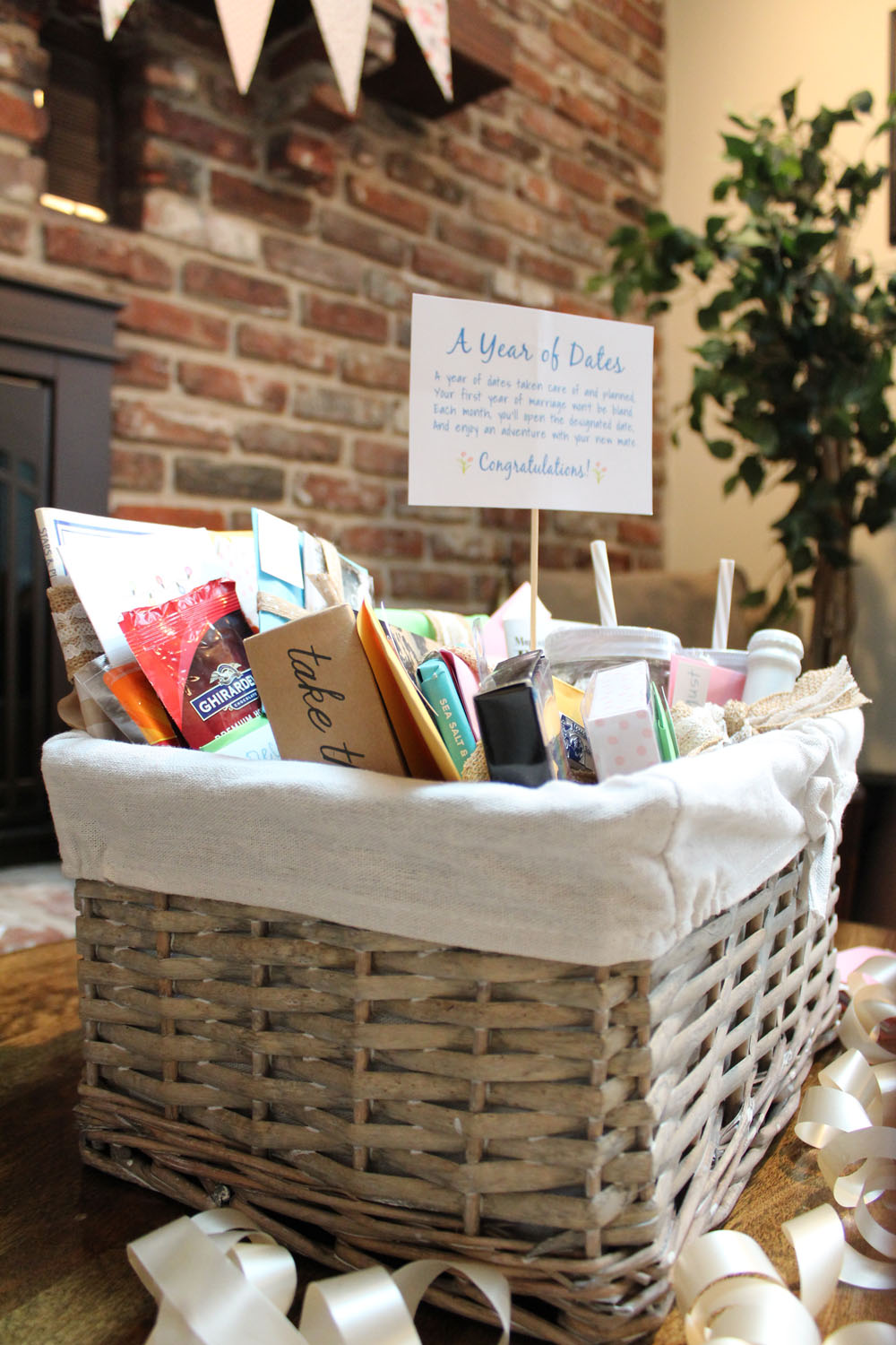 DIY 12 Months of Dates Gift Basket - Perfect gift for showers, weddings, and significant others