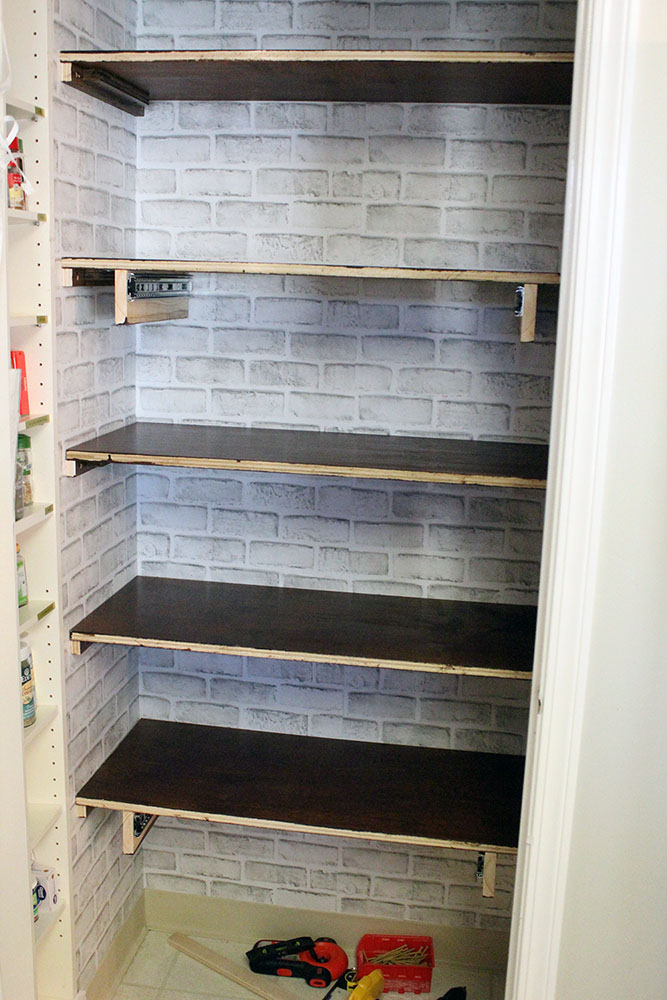 build easy pantry shelves with this DIY tutorial - shelves on shelves supports - waiting on face plates