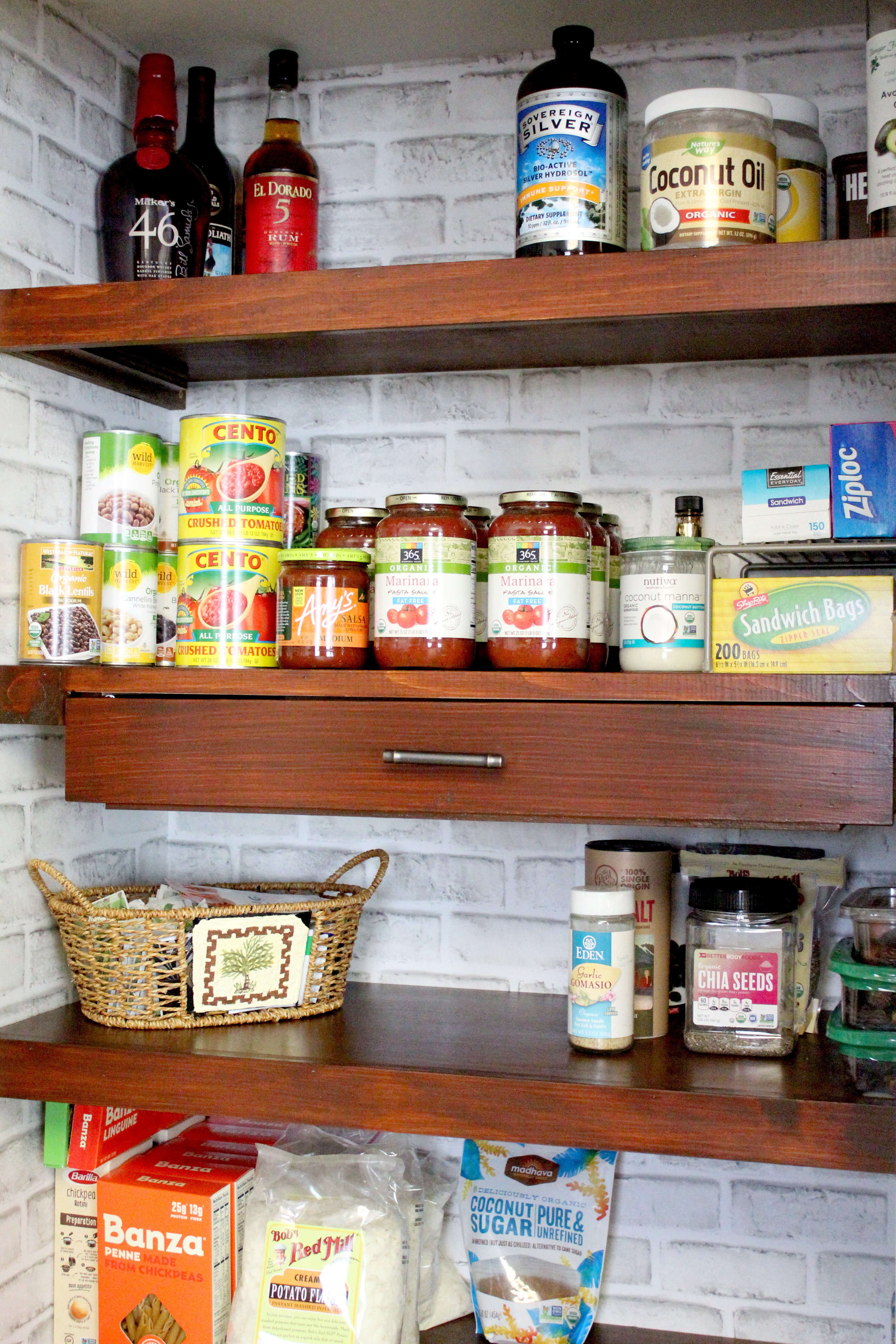DIY wood pantry shelving for a reach in pantry
