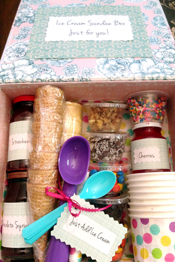 DIY Ice Cream Sundae Gift Box Basket - how to make a gift basket