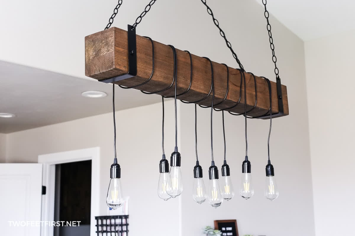 Farmhouse Wood Beam Chandelier DIY