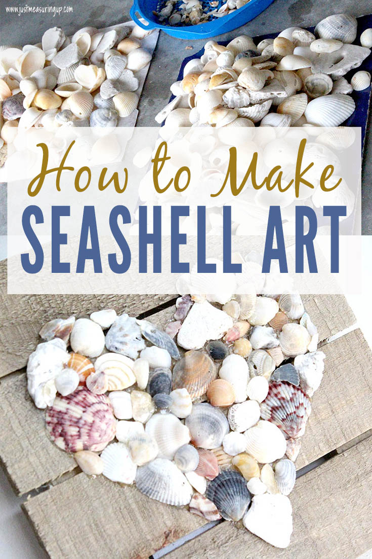 DIY beach wall art tutorial using seashells from the beach